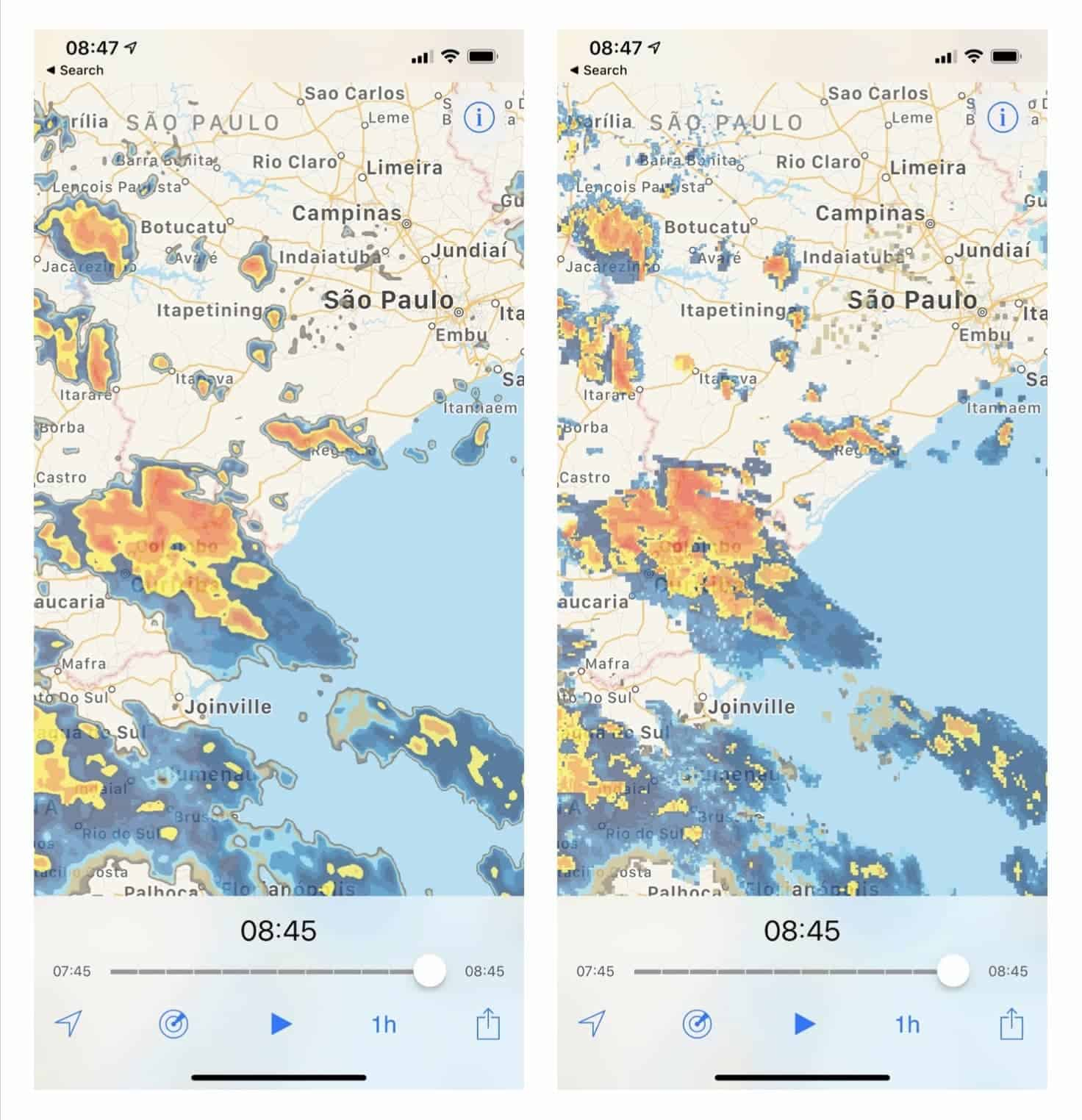 For a more accurate depiction of radar data, turn smoothing off. Left image is smoothed, right image is not.